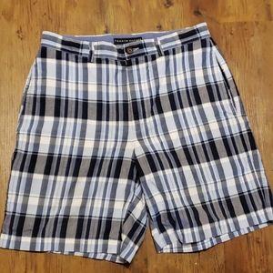 Tommy hilfiger blue grey plaid flat front shorts